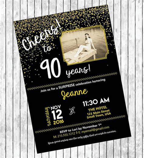 90th birthday invitations templates 11 90th birthday invitations designs templates psd