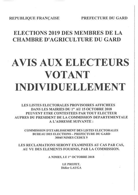 AVIS AUX ELECTEURS CHAMBRE AGRICULTURE DU GARD ELECTIONS