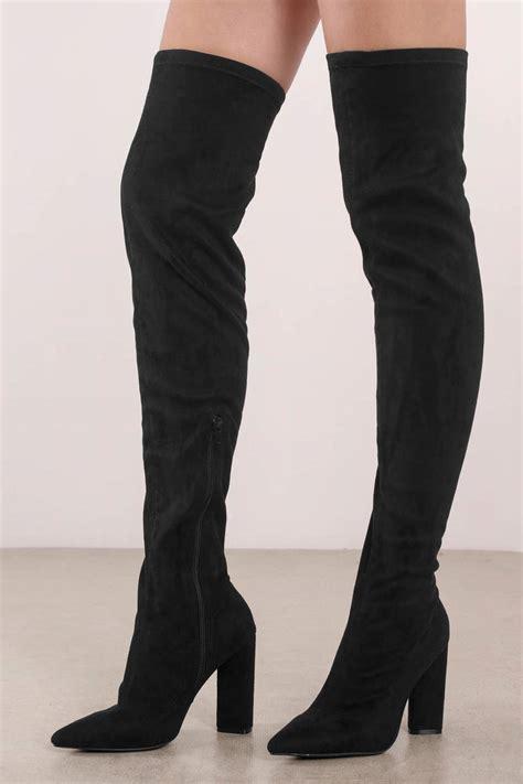 High Heel Black Suede Harga Promo black faux suede thigh high boots 47 tobi us