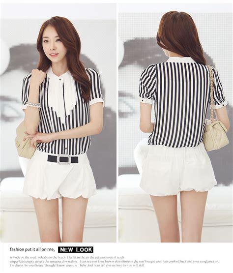 Blouse Bordir Garis Import blouse wanita garis garis hitam putih model terbaru jual murah import kerja