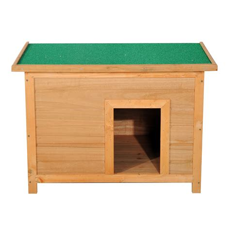 small wood dog house pawhut 33 quot elevated dog kennel small animal wooden outdoor weatherproof aosom ca