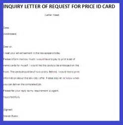 inquiry letter of request for price id card business