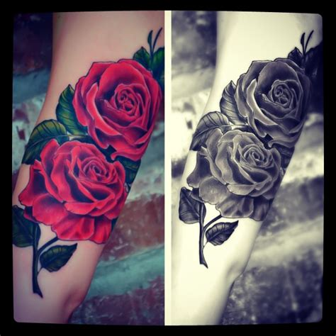 black white and red rose tattoos biceps tattoos and designs page 99