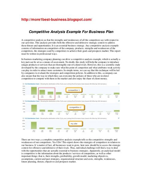 business plan analysis template competitive analysis exle for business plan