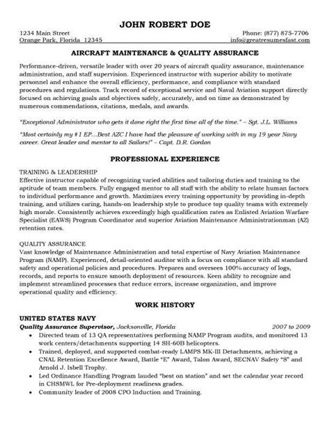entry level quality assurance resume sles aircraft maintenance and quality assurance resume