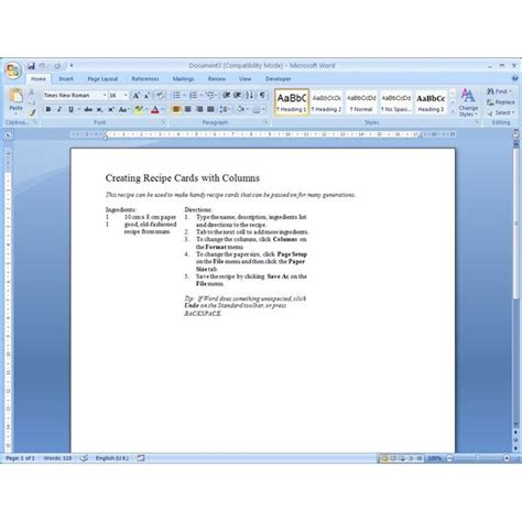 Templates For Microsoft Word finding microsoft word recipe templates