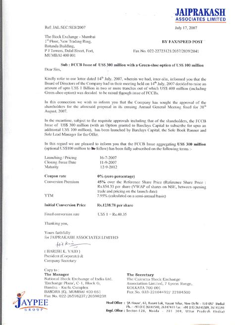 Appointment Letter Format For Pvt Ltd Company Jaypee Investors Statutory Communication