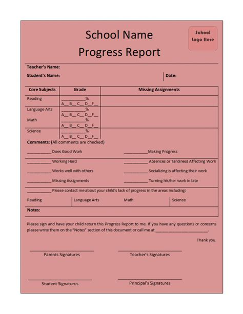 progress report template progress report template