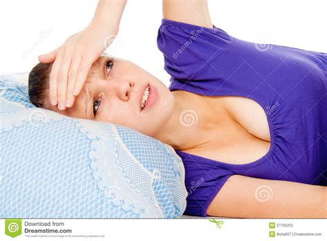 girls laying in bed the girl lay in bed colds stock photos image 27705253
