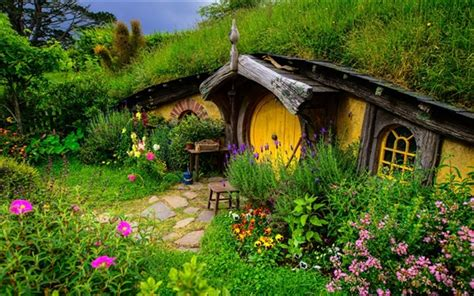 cute lord of the rings hobbit houses in new zealand wallpaper lord of the rings hobbit house hill flowers