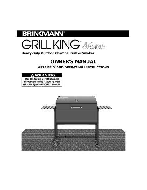 Backyard Grill Owner S Manual Brinkmann Grill King Deluxe Heavy Duty Outdoor Charcoal