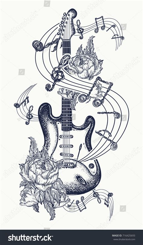guitar tattoo electric guitar roses music stock vector