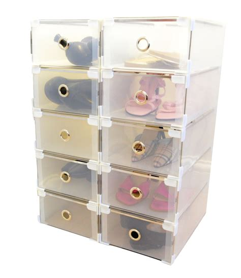Shoe Storage With Drawers by Della Clear Shoe Storage Boxes With Pull Out Drawers