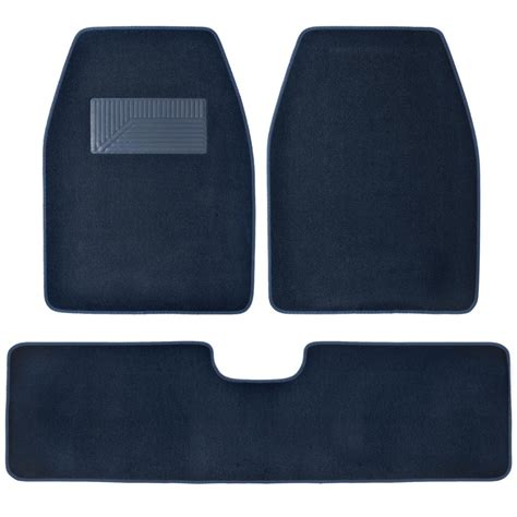 set of 3 car floor mats 2 front 1 rear liner blue carpet