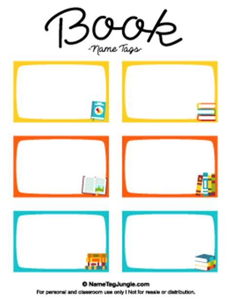 Free Printable School Name Tags School Book Labels Template