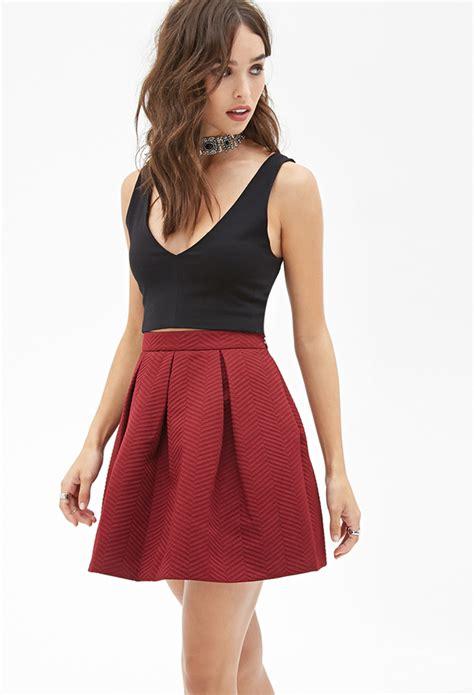 A Line Pleated Mini Skirt burgundy pleated mini skirt forever 21 pleated a line skirt