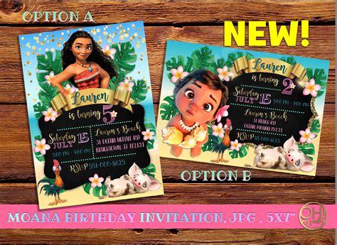 Invitation Card Moana moana invitation moana birthday invitation moana