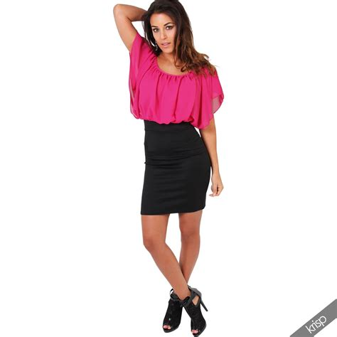womens pleated chiffon batwing top high waist pencil