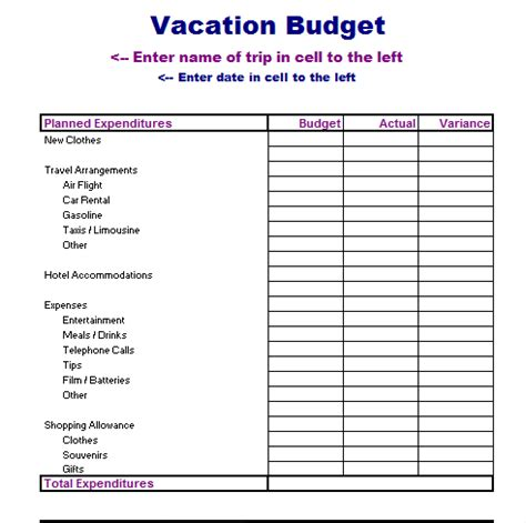 travel budget template vacation planner template excel calendar template 2016