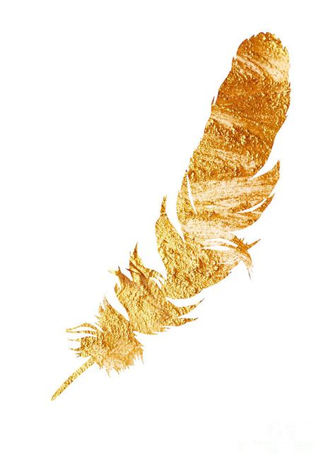 gold feather watercolor painting painting by joanna szmerdt