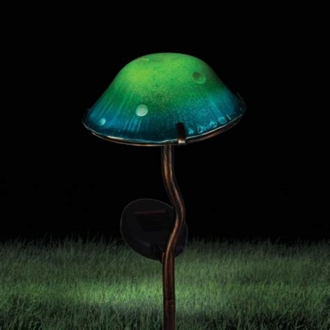 solar powered toadstool garden stake light