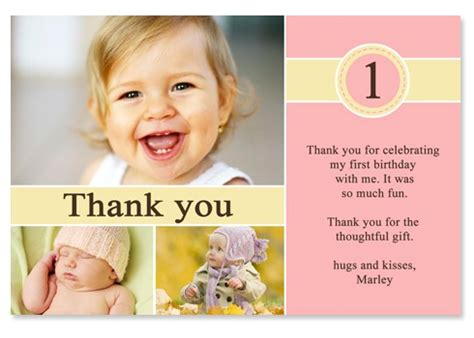 1st Birthday Thank You Card Template by 1st Birthday Thank You Quotes Quotesgram