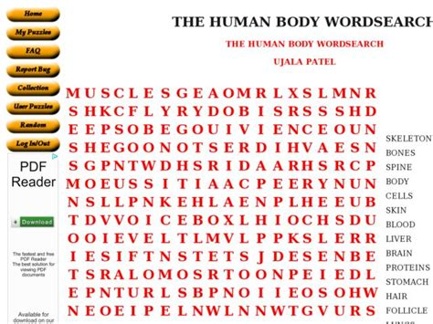 printable word searches human body image gallery human body word search