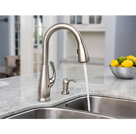 pfister selia kitchen faucet stainless steel selia touch free pull kitchen faucet with react f 529 esls pfister faucets