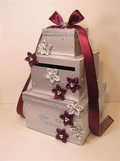 Wedding Card Box Silver and Burgundy/Wine Gift Card Box
