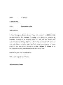 Authorization Letter Format To Receive Certificate Authorization Letter Dfa
