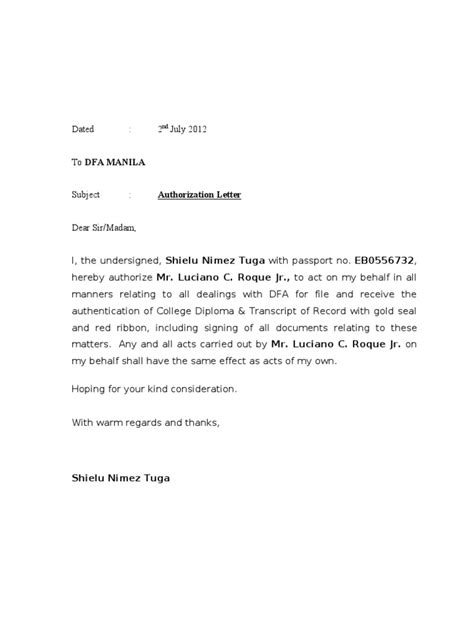 authorization letter sle for receiving a document authorization letter dfa