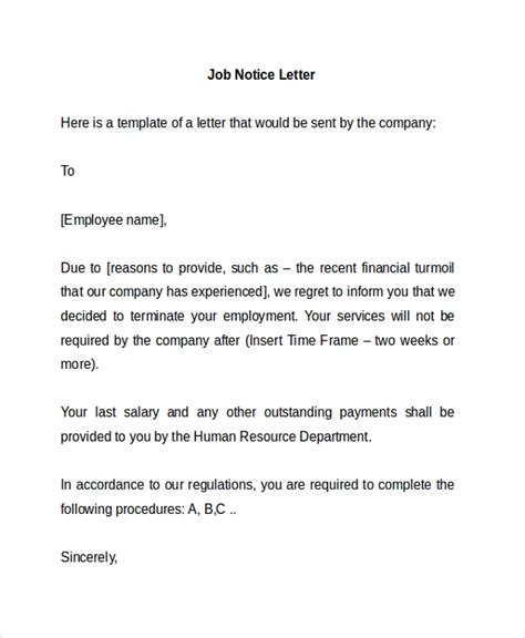 sample notice letter templates ms word