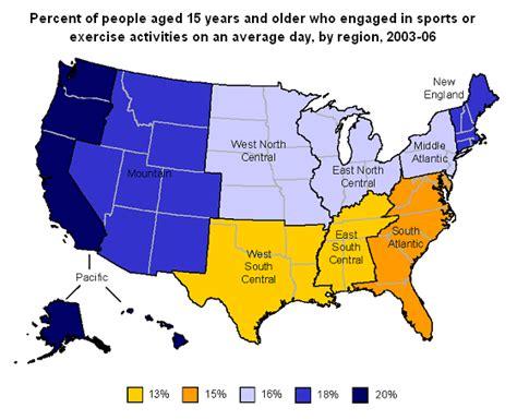 us states map exercise sports and exercise bls spotlight on statistics