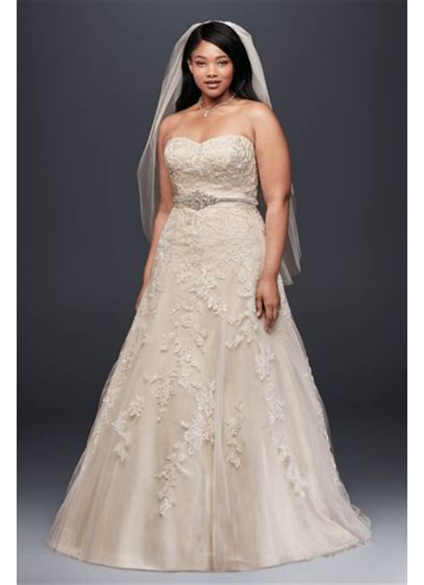 Dress Line S a line plus size wedding dress with lace appliques david