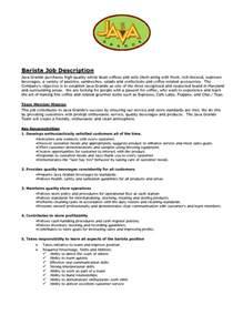 Barista Resume Template by Sle Barista Resume Barista Objective Description Resume Barista Description Skills