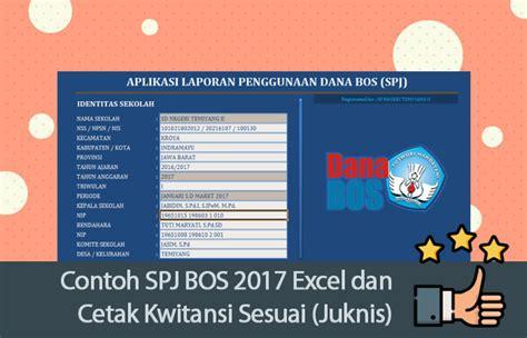 Contoh Aplikasi Spj Bos Sd Smp Format Excel Dilengkapi Cetak