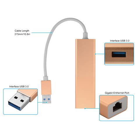 Usb 3 0 Cable Network Card by Usb3 0 Hub To Rj45 Gigabit Ethernet Network Adapter Lan