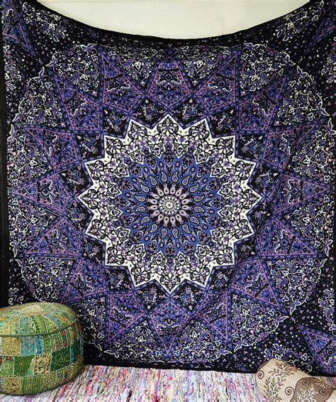 blue hippie floral mandala tapestry bedspread bed cover blue psychedelic star mandala tapestry from rangraizzi on etsy