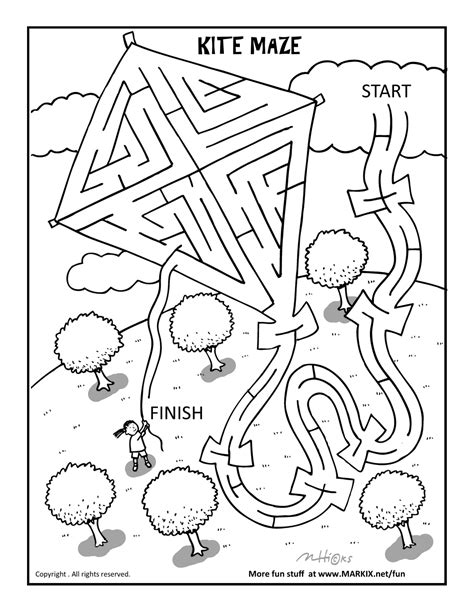 coloring pages and activities printable kite maze and coloring page fun printable coloring