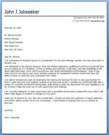 Retail Manager Cover Letter Sample Resume Downloads