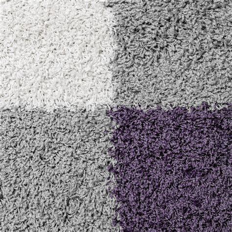 teppiche lila grau moderner hochflor teppich karo muster shaggy zottel