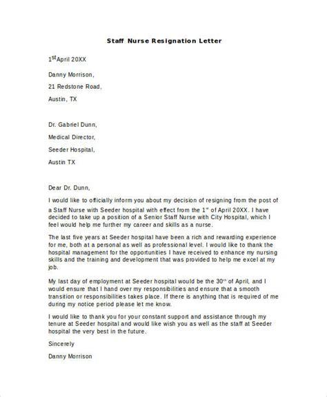 hospital resignation letter samples templates