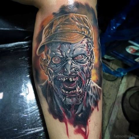 zombie watercolor tattoo 51 horror tattoos for leg