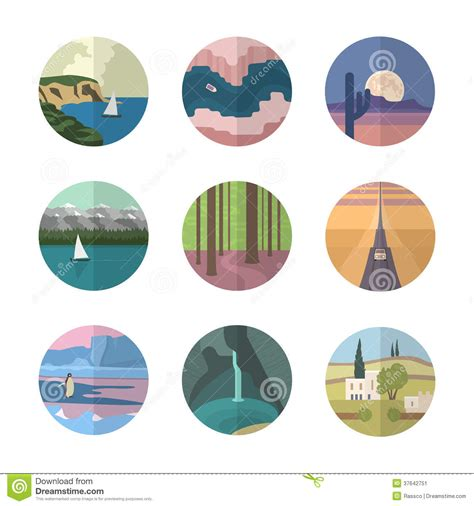 Landscapes Icons Collection Stock Vector Image 37642751 Types Of Landscape