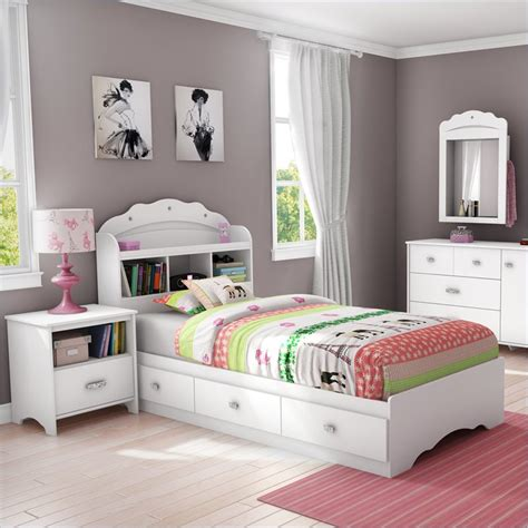 bedroom bookcases south shore sabrina 2 pc twin bookcase pure white bedroom