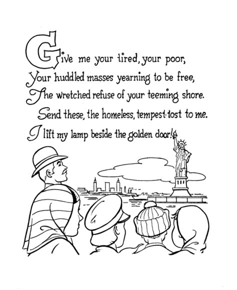 american symbols coloring page week 16 immigration to