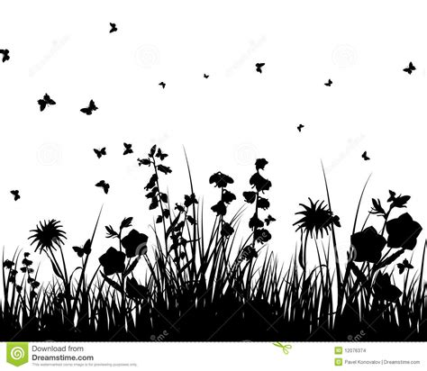 Garden Silhouette by Meadow Silhouettes Stock Vector Image Of Border