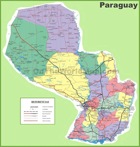 paraguay on the world map large detailed map of paraguay with cities and towns