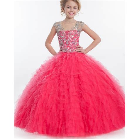 cap sleeve pink flower dresses gown 2015 fashion tulle cascading waves ruffle