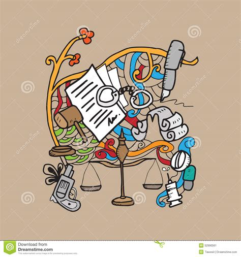 doodle lawyer justice and doodle stock vector image 52990561